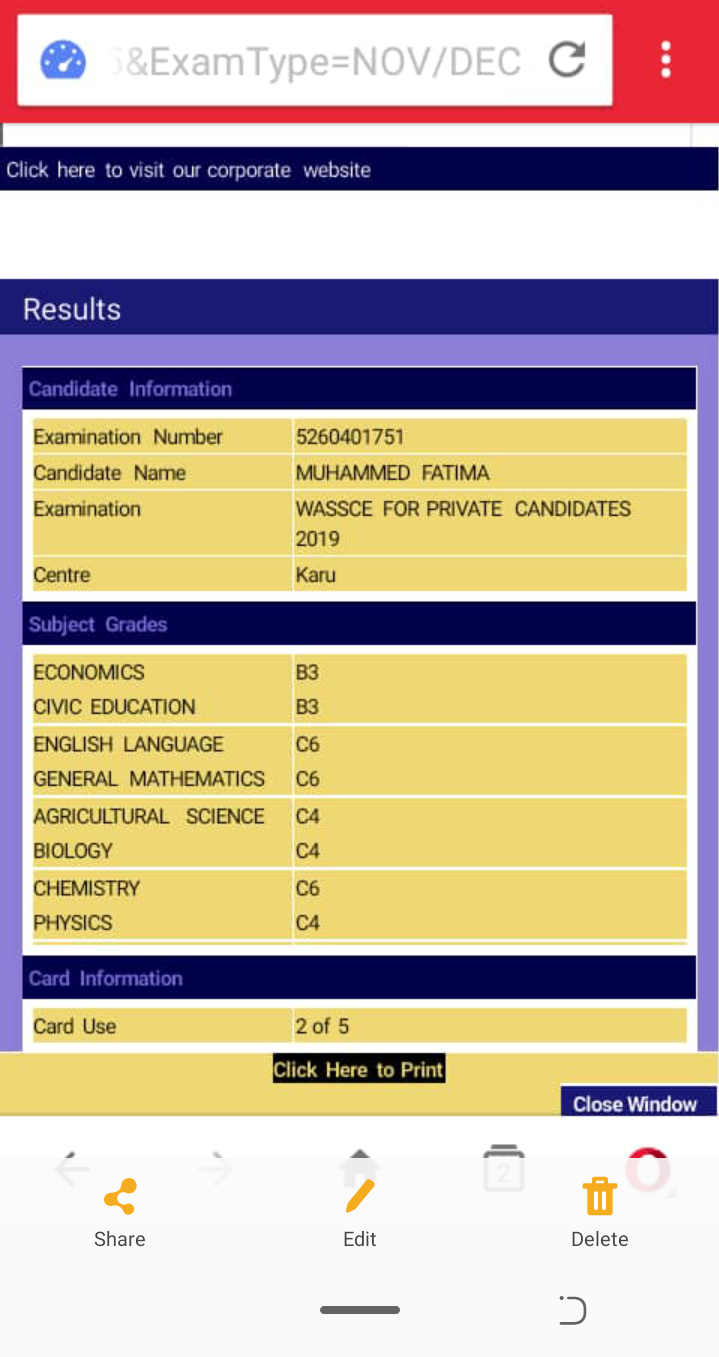 My Waec Result